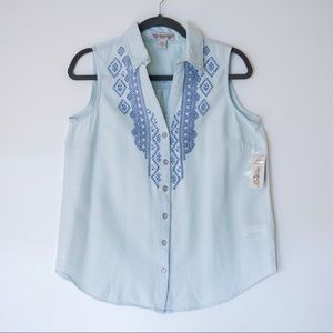 Vintage America Blues Sleeveless Embroidered Top M